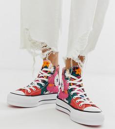 Высокие кроссовки на платформе с цветочным принтом Converse Chuck Taylor - Красный
