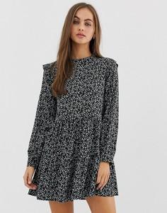 Черное платье мини с оборками Pull&Bear - Оранжевый