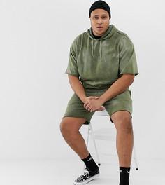 Спортивный костюм хаки (худи/зауженные шорты) ASOS DESIGN Plus - Зеленый