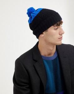 Черная шерстяная шапка-бини в стиле колор блок с помпоном Paul Smith - Черный