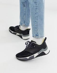 Черные кроссовки на массивной подошве с логотипом Diesel - Черный