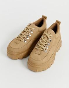 Массивные кроссовки на плоской платформе Truffle Collection - Бежевый