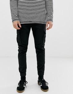 Узкие брюки карго с манжетами Solid - Черный