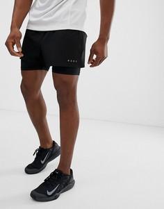 Черные спортивные шорты 2 в 1 из быстросохнущей ткани ASOS 4505 - Черный