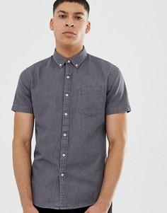 Серая джинсовая рубашка классического кроя с коротким рукавом New Look - Серый