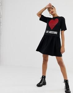 Двуслойное платье с узором в виде сердца Love Moschino - Черный