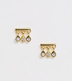 Позолоченные серебряные серьги с дизайном планок и подвесками с кристаллами ASOS DESIGN - Золотой