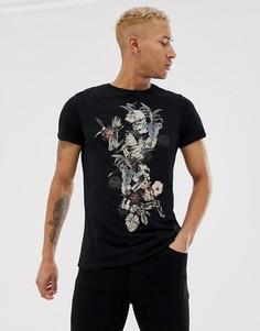 Черная футболка с принтом молящегося скелета и цветов Religion - Черный