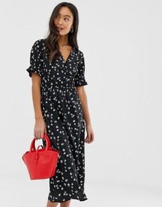 Черное платье миди на пуговицах с цветочным принтом и сборками на рукавах Influence - Черный