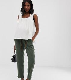 Льняные брюки для беременных с плетеным поясом Mamalicious - Зеленый Mama.Licious