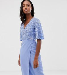 Синее платье-футляр миди с пайетками и расклешенными рукавами Maya Tall - Синий