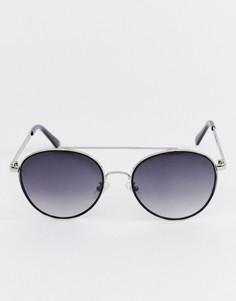 Черные круглые солнцезащитные очки с двойной планкой Esprit - Черный