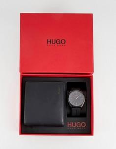 Часы с силиконовым ремешком и кошелек HUGO 1580001 - Черный