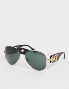 Солнцезащитные очки-авиаторы со съемной отделкой Versace 0VE2150Q - Черный