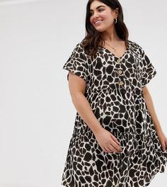 Свободное платье на пуговицах с принтом Influence Plus - Мульти