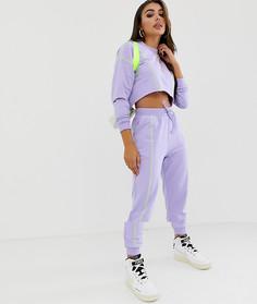 Спортивный костюм укороченного кроя с контрастными строчками ASOS DESIGN - Фиолетовый