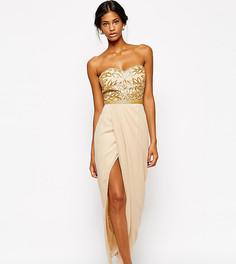 Декорированное платье макси с лифом-бандо Virgos Lounge Ava - Кремовый