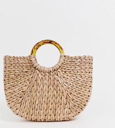 Полукруглая соломенная сумка с черепаховыми ручками South Beach - Бежевый