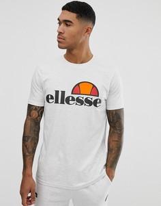 Белая меланжевая футболка с крупным логотипом ellesse Prado - Серый