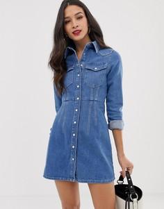 Синее структурированное джинсовое платье-рубашка ASOS DESIGN - Синий