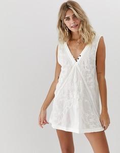 Платье с вышивкой Free People - Белый