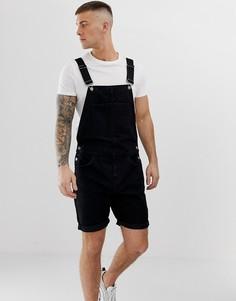 Черный короткий джинсовый комбинезон ASOS DESIGN - Черный