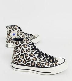 Кроссовки с леопардовым принтом Converse Chuck 70 - Черный