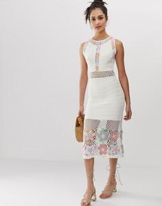 Премиум-платье миди с вязаным кружевом ручной работы ASOS DESIGN - Кремовый
