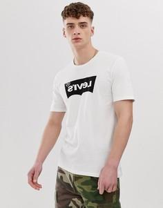 Белая футболка с черным принтом и логотипом Levis Line8 - Белый