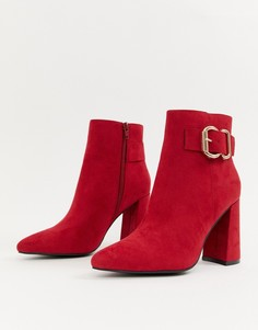 Красные ботинки на каблуке с пряжками New Look - Красный