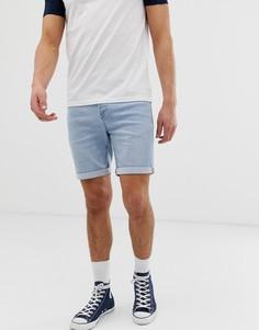Голубые джинсовые шорты классического кроя Solid - Синий