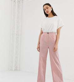 Широкие брюки из ткани на основе льна ASOS DESIGN Tall - Розовый