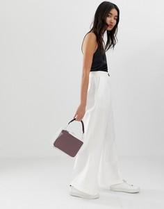 Льняные брюки с широкими штанинами и контрастной пуговицей ASOS DESIGN - Белый