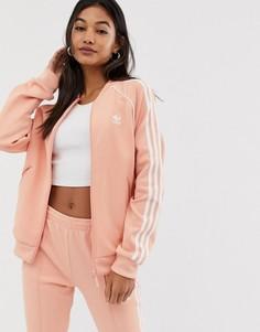 Розовая спортивная куртка с тремя полосками adidas Originals adicolor - Розовый