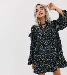 Свободное платье с кружевной вставкой и цветочным принтом COLLUSION Petite - Мульти