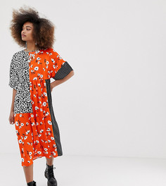 Свободное платье с принтом COLLUSION - Мульти