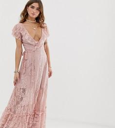 Кружевное платье макси с разрезом Sisters Of The Tribe - Розовый