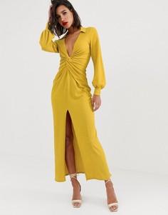 Фактурное платье-рубашка макси с перекрутом и драпировкой ASOS DESIGN - Желтый