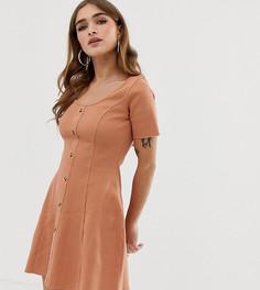 Чайное платье в рубчик с пуговицами и короткими рукавами ASOS DESIGN Petite - Коричневый