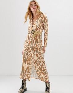 Платье макси с поясом и принтом зебра ASOS DESIGN - Мульти