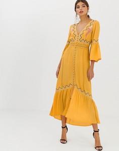 Платье макси с кружевной вставкой и вышивкой ASOS DESIGN - Желтый