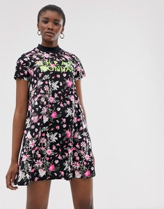Платье из органического хлопка с принтом Cheap Monday roses are dread - Черный