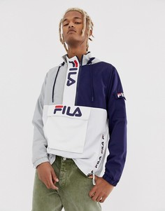 Серая куртка в стиле колор блок с фирменными молниями Fila Parallax - Серый