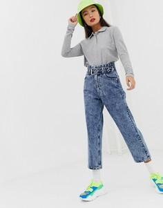 Мраморные джинсы в винтажном стиле с завышенной талией и поясом Signature 8 - Синий