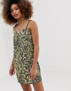 Платье мини со змеиным принтом COLLUSION - Мульти