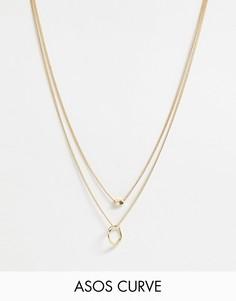 Золотистое ярусное ожерелье с подвесками ASOS DESIGN Curve - Золотой