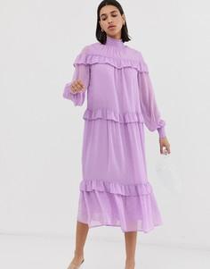Свободное платье мидакси с оборками Resume Myra - Фиолетовый Résumé