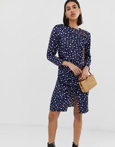 Облегающее платье со сборками и принтом сердец Resume Molly - Темно-синий Résumé
