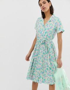 Чайное платье с плиссированной юбкой в стиле ретро Resume Mitzie - Зеленый Résumé