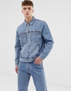 Выбеленная джинсовая куртка с нашивкой Calvin Klein Jeans - Синий